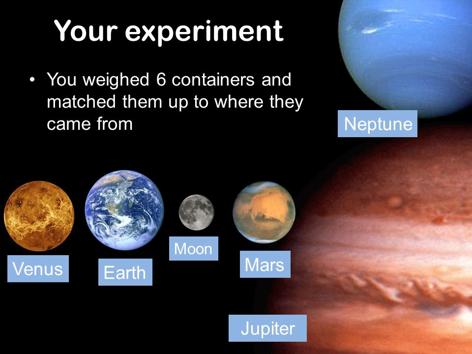 Your experiment Neptune. You weighed 6 containers and matched them up to where they came from. Earth.