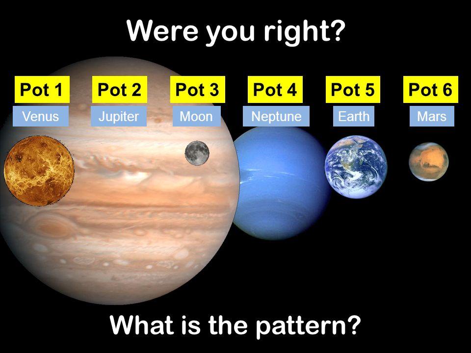 Were you right What is the pattern Pot 1 Pot 2 Pot 3 Pot 4 Pot 5