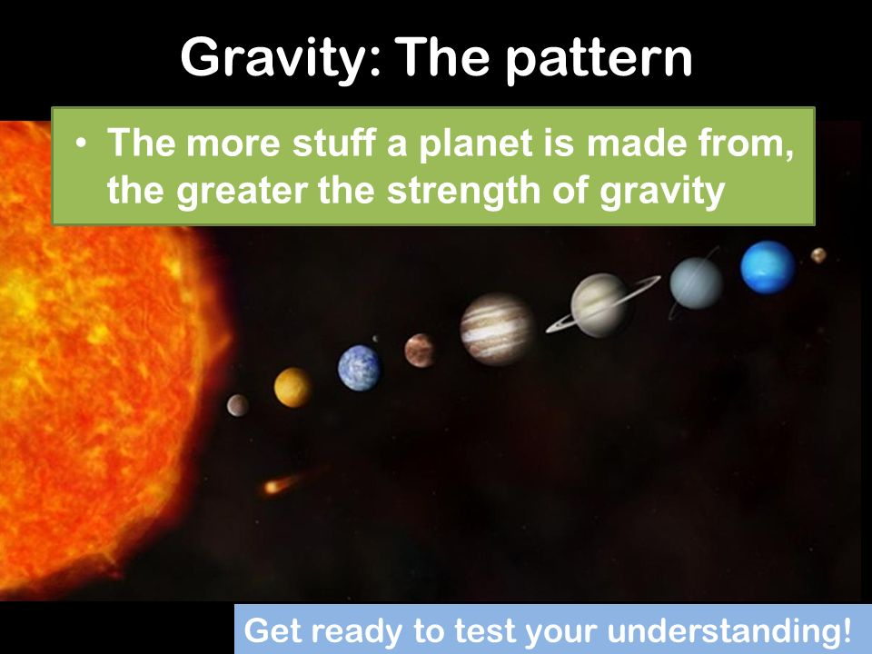 Gravity: The pattern The more stuff a planet is made from, the greater the strength of gravity.