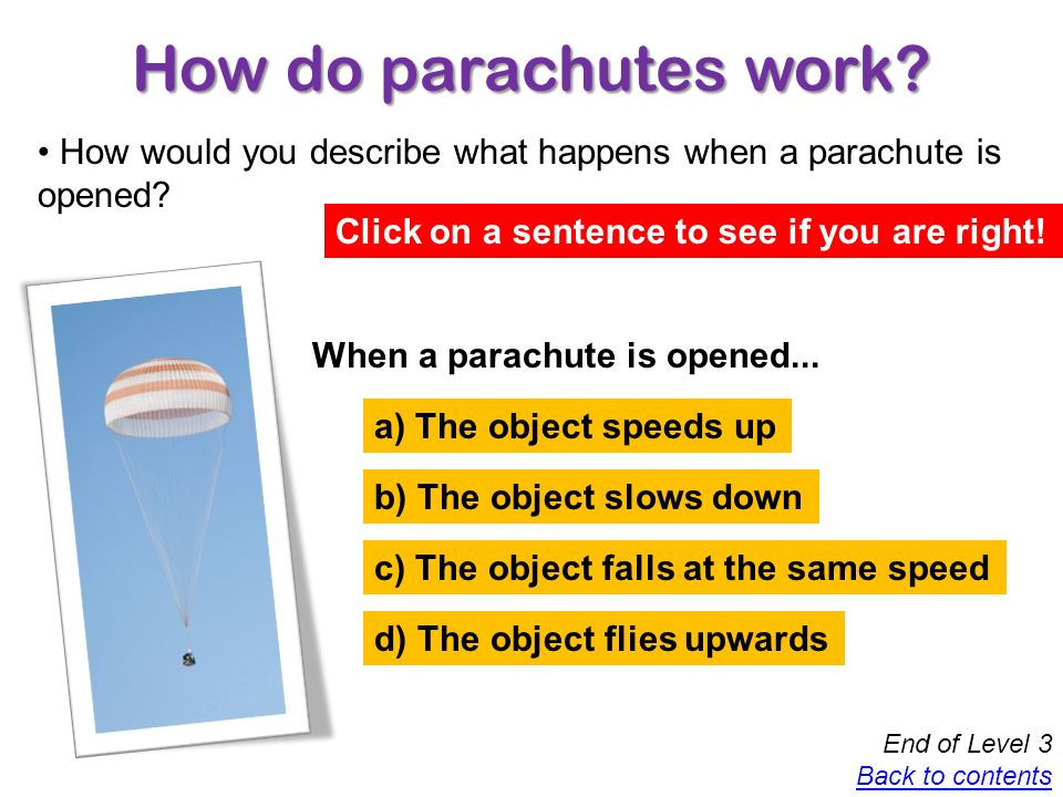 How do parachutes work How would you describe what happens when a parachute is opened Click on a sentence to see if you are right!