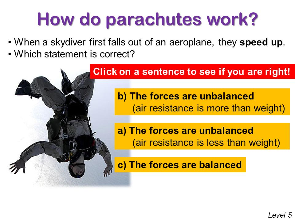 How do parachutes work When a skydiver first falls out of an aeroplane, they speed up. Which statement is correct