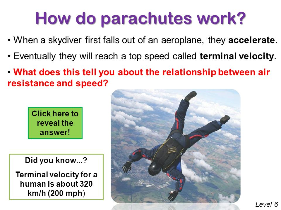 relationship between parachutes and air resistance exercise
