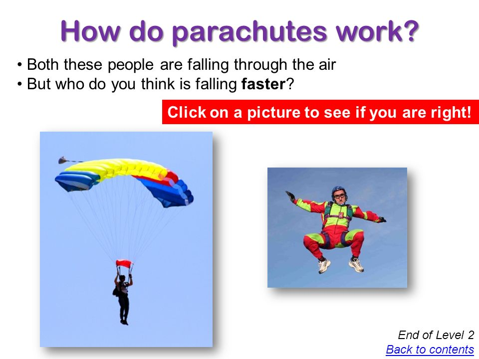 How do parachutes work Both these people are falling through the air