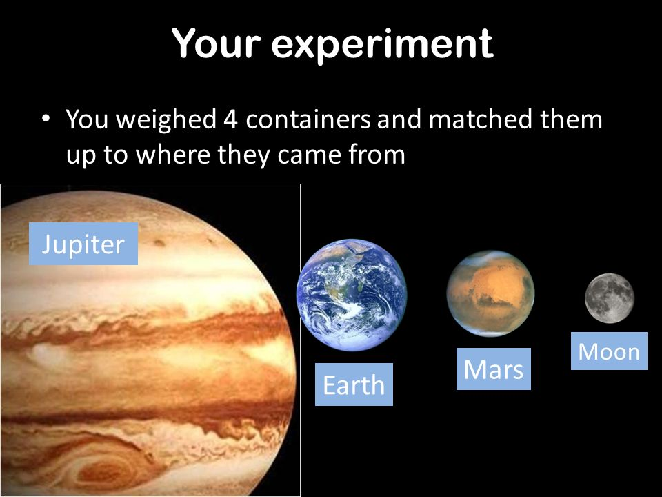 Your experiment You weighed 4 containers and matched them up to where they came from. Jupiter. Moon.