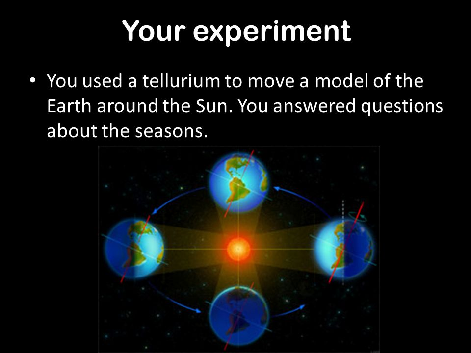 Your experiment You used a tellurium to move a model of the Earth around the Sun.