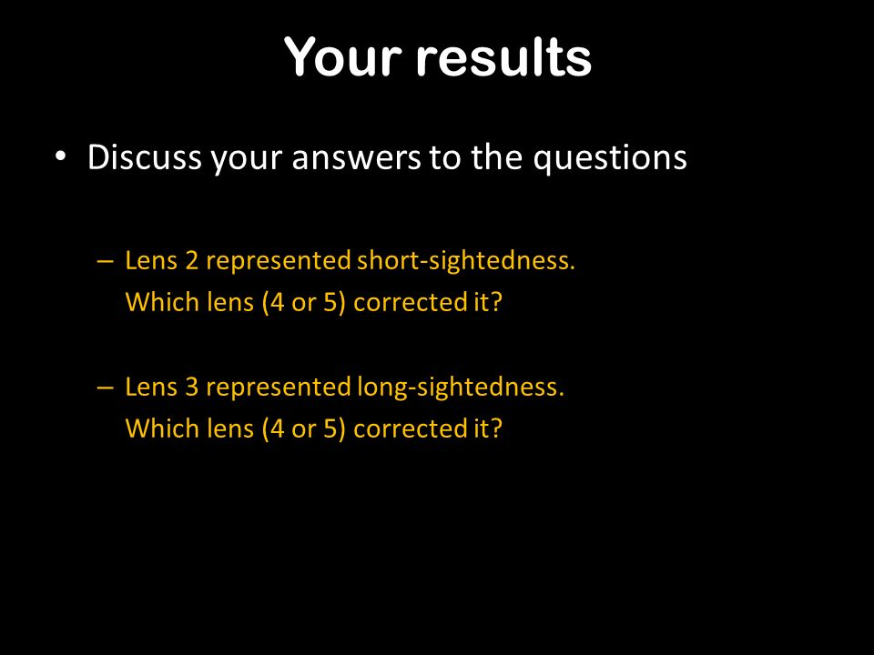 Your results Discuss your answers to the questions