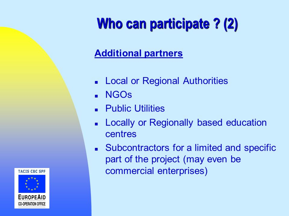Who can participate (2) Additional partners