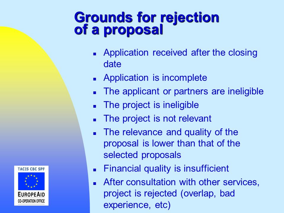 Grounds for rejection of a proposal