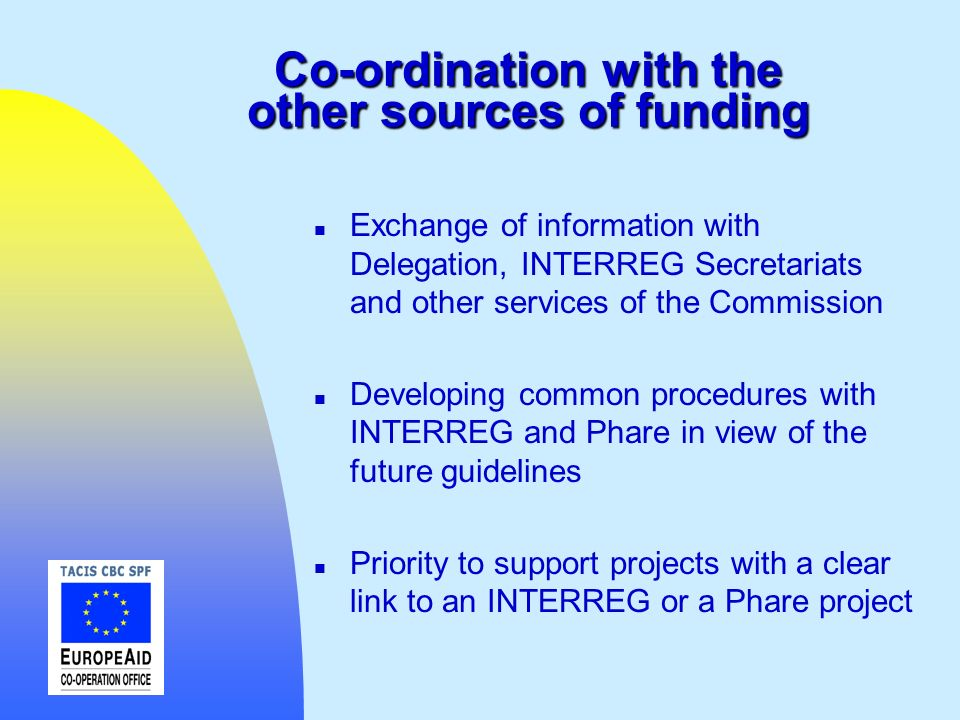 Co-ordination with the other sources of funding