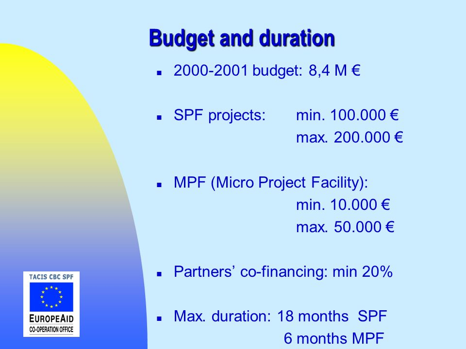 Budget and duration budget: 8,4 M €