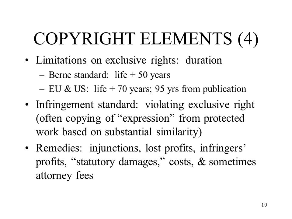 COPYRIGHT ELEMENTS (4) Limitations on exclusive rights: duration