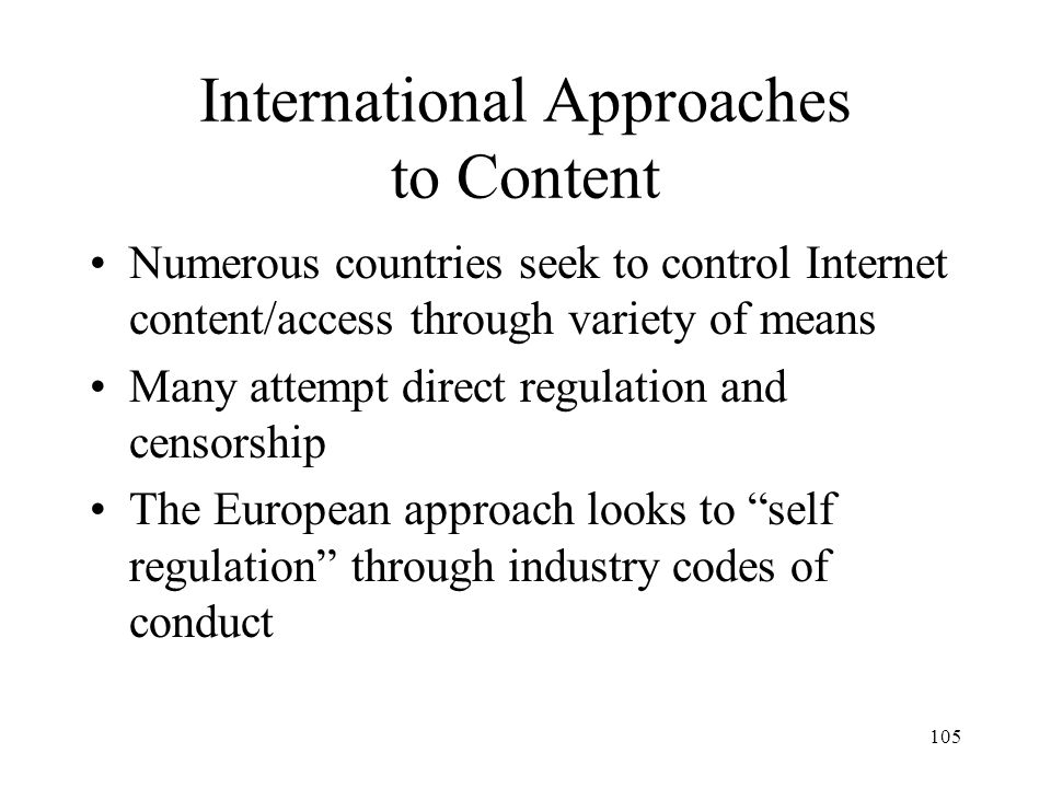 International Approaches to Content