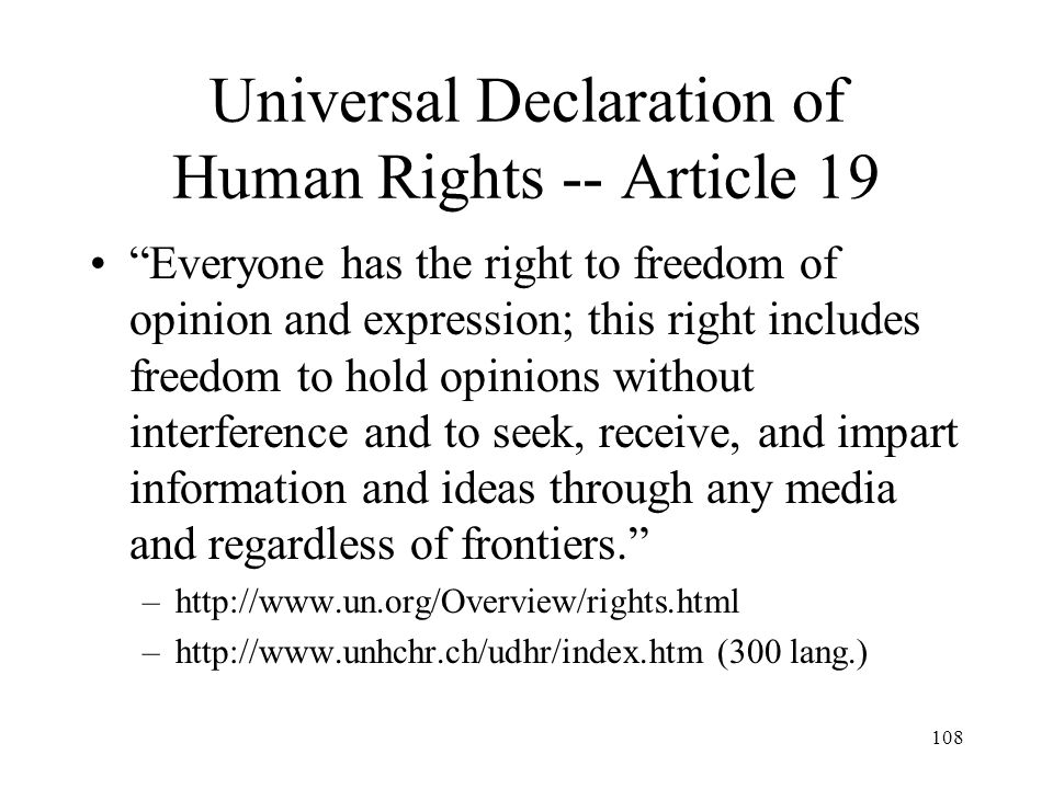 Universal Declaration of Human Rights -- Article 19