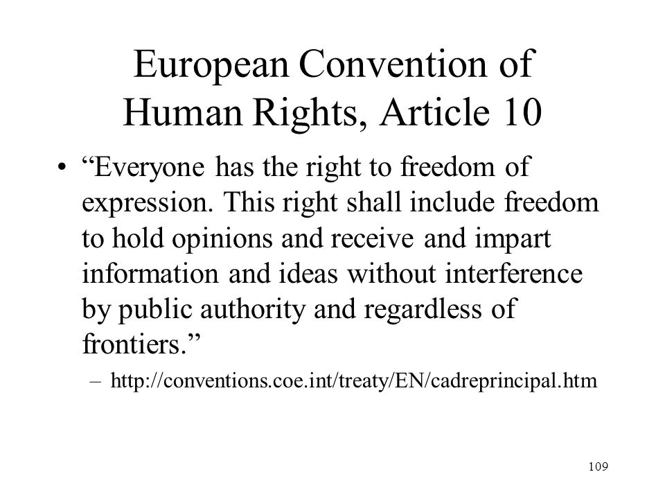 European Convention of Human Rights, Article 10