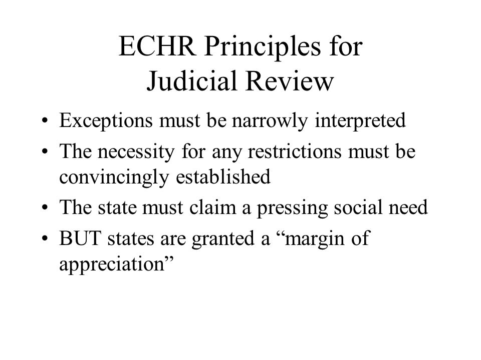 ECHR Principles for Judicial Review