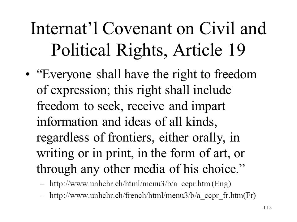 Internat'l Covenant on Civil and Political Rights, Article 19