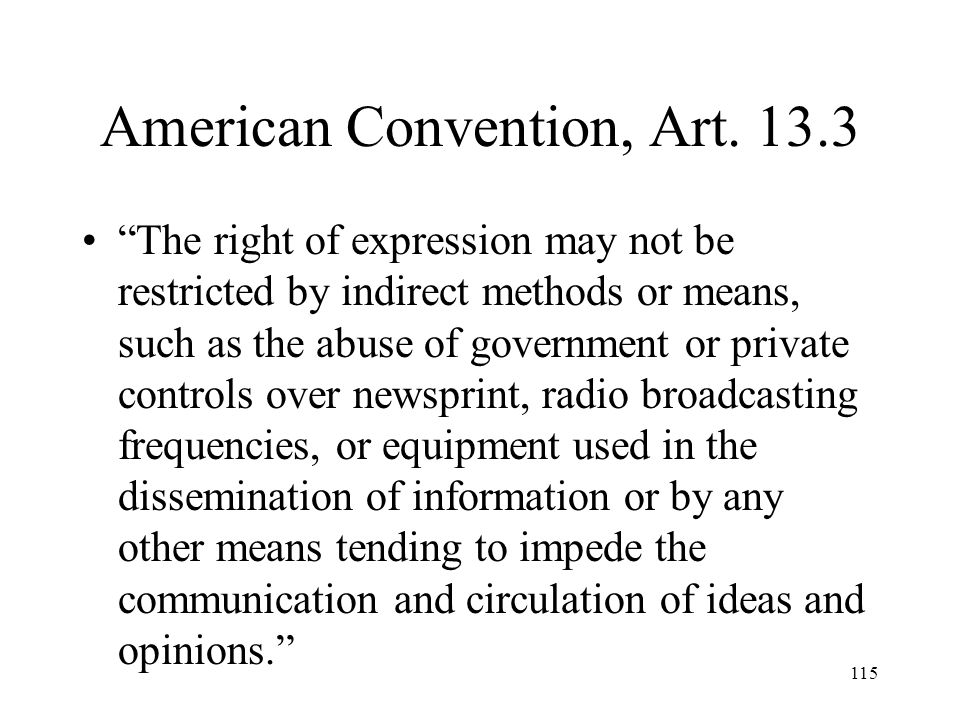 American Convention, Art. 13.3