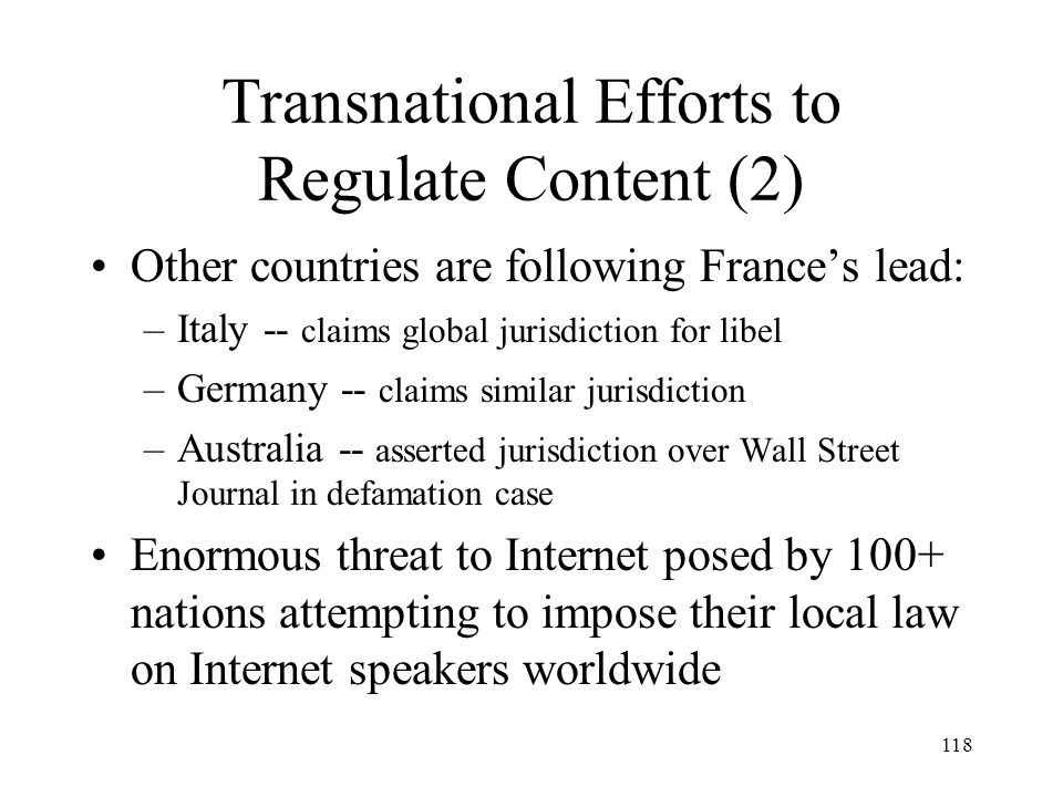 Transnational Efforts to Regulate Content (2)
