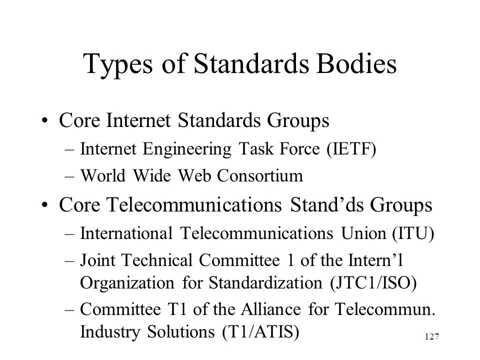 Types of Standards Bodies