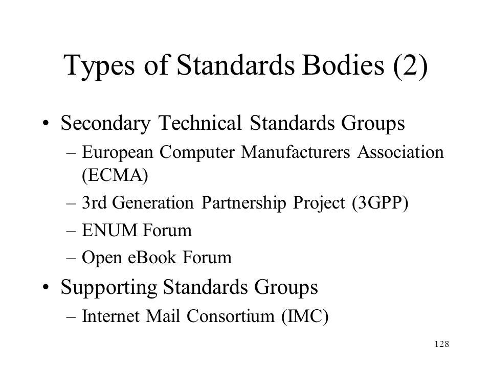 Types of Standards Bodies (2)