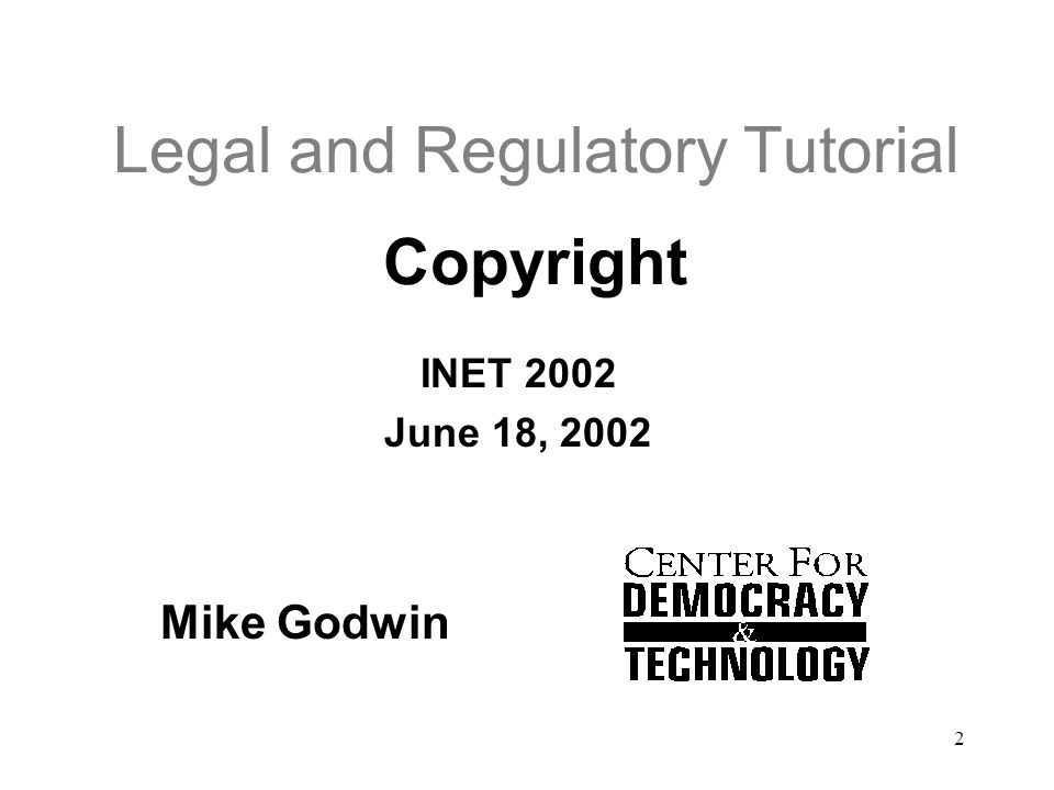 Legal and Regulatory Tutorial Copyright