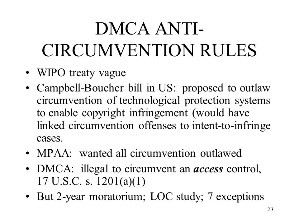 DMCA ANTI-CIRCUMVENTION RULES