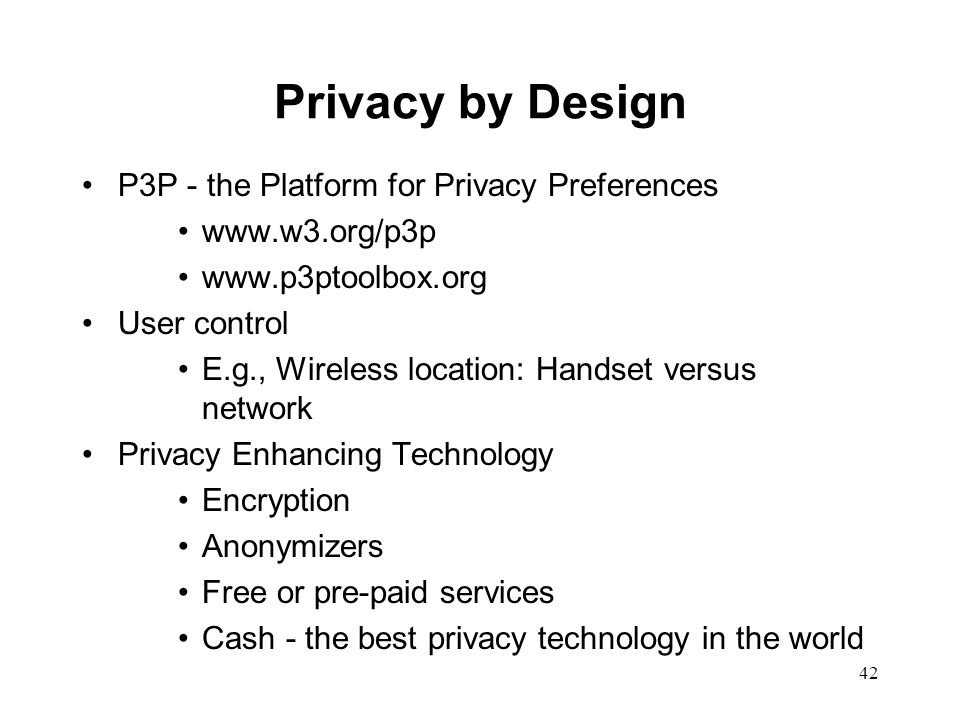 Privacy by Design P3P - the Platform for Privacy Preferences