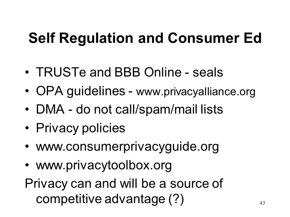 Self Regulation and Consumer Ed
