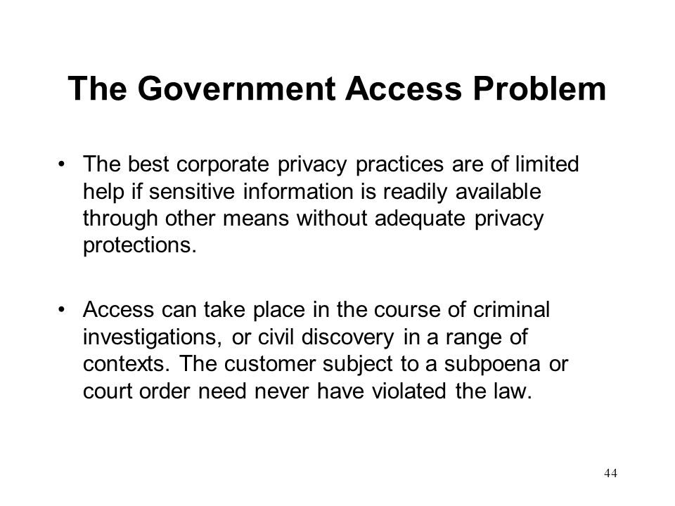 The Government Access Problem