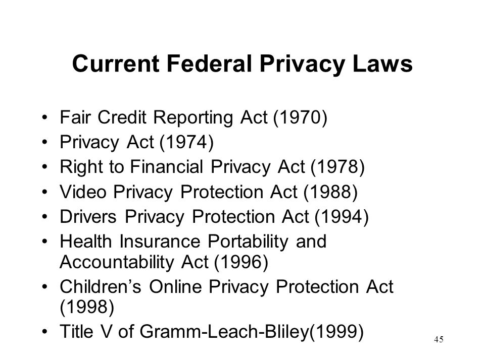 Current Federal Privacy Laws