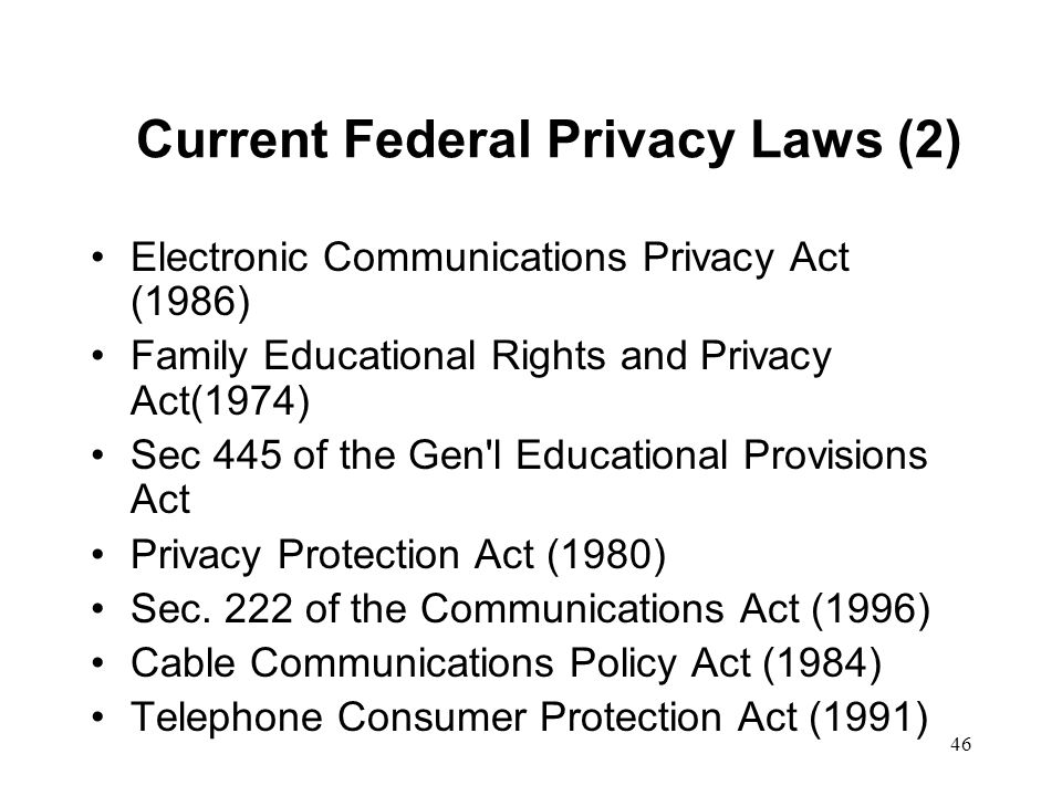Current Federal Privacy Laws (2)