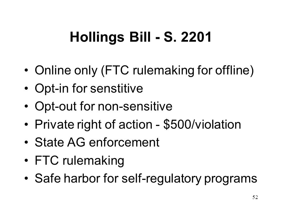 Hollings Bill - S. 2201 Online only (FTC rulemaking for offline)