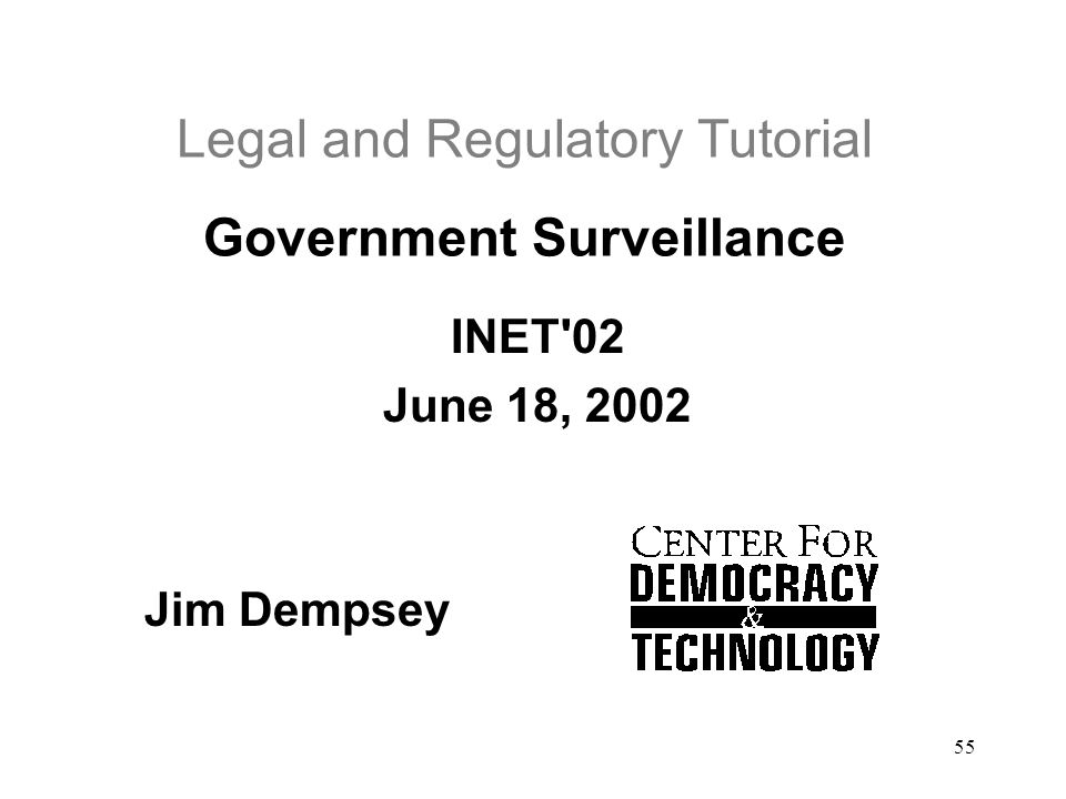 Legal and Regulatory Tutorial Government Surveillance