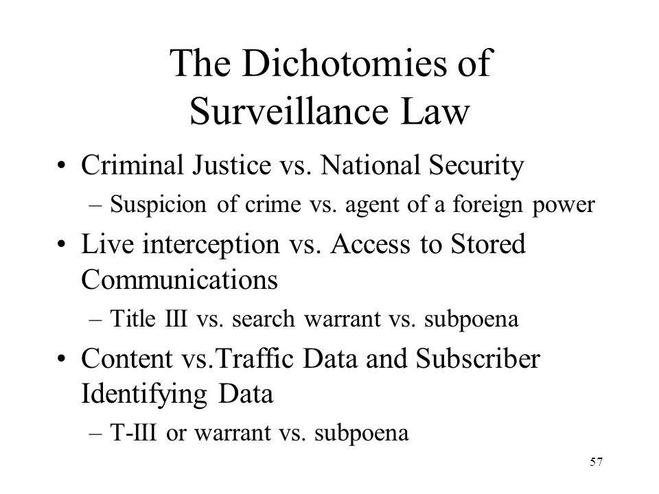 The Dichotomies of Surveillance Law