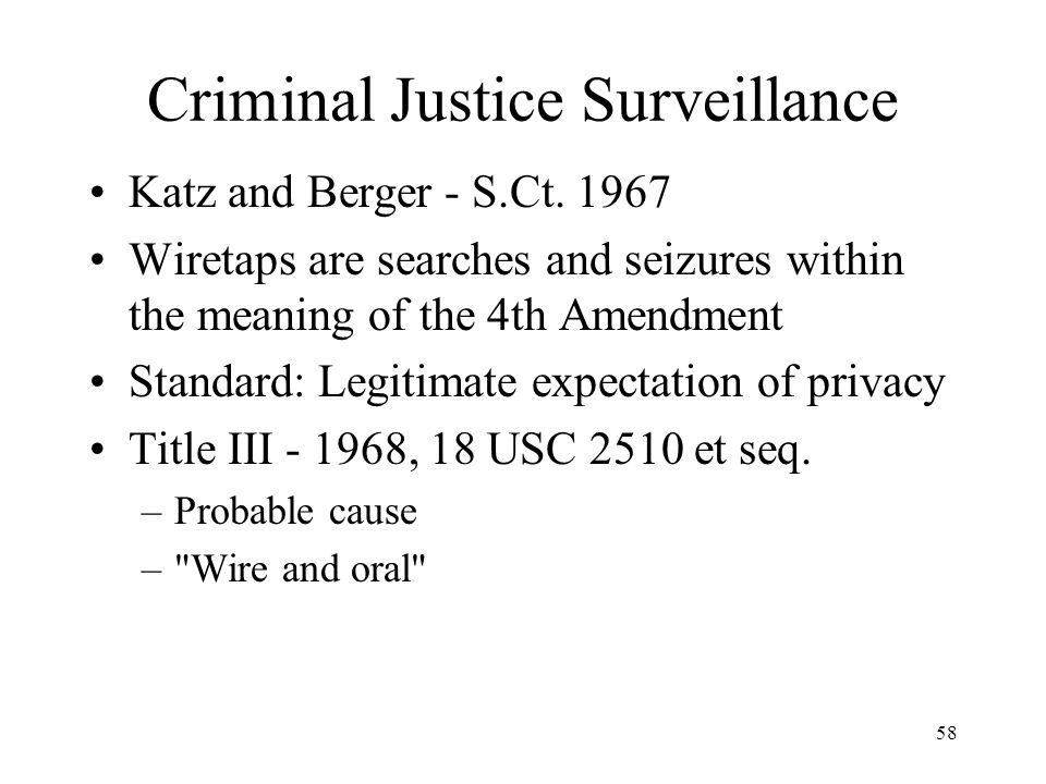 Criminal Justice Surveillance