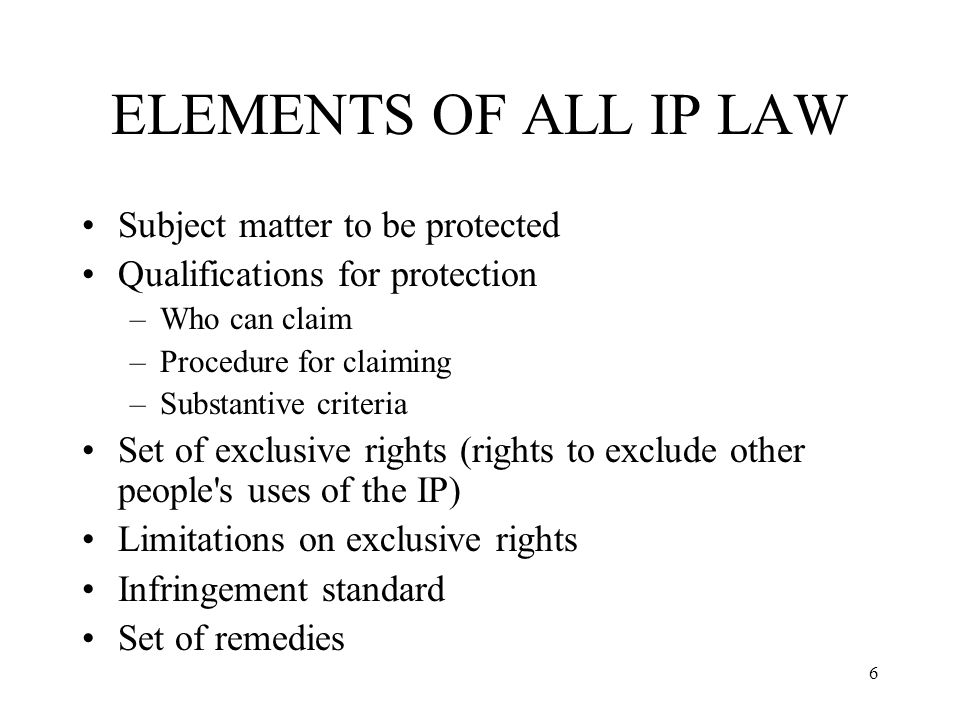 ELEMENTS OF ALL IP LAW Subject matter to be protected