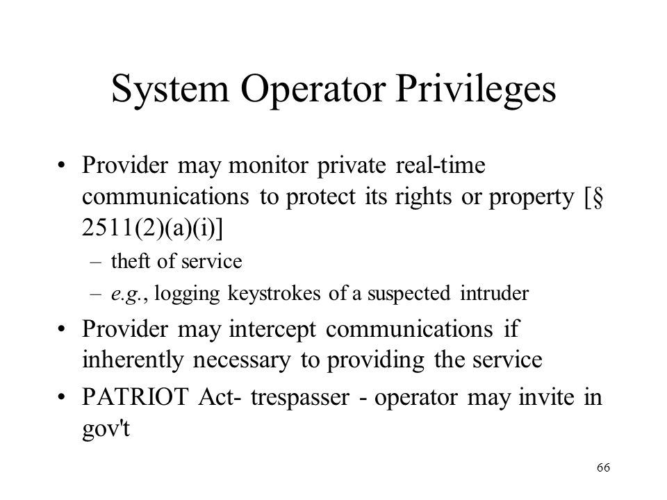 System Operator Privileges