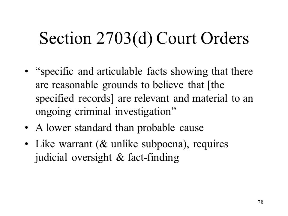 Section 2703(d) Court Orders