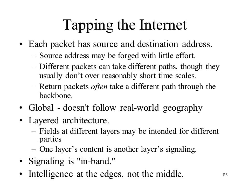 Tapping the Internet Each packet has source and destination address.