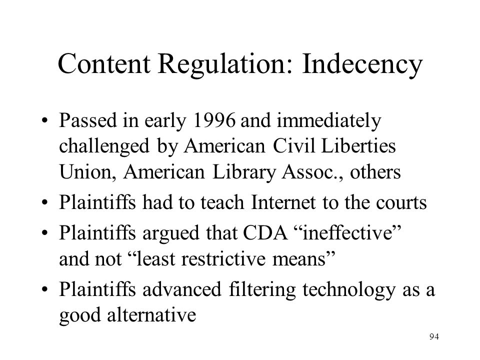 Content Regulation: Indecency