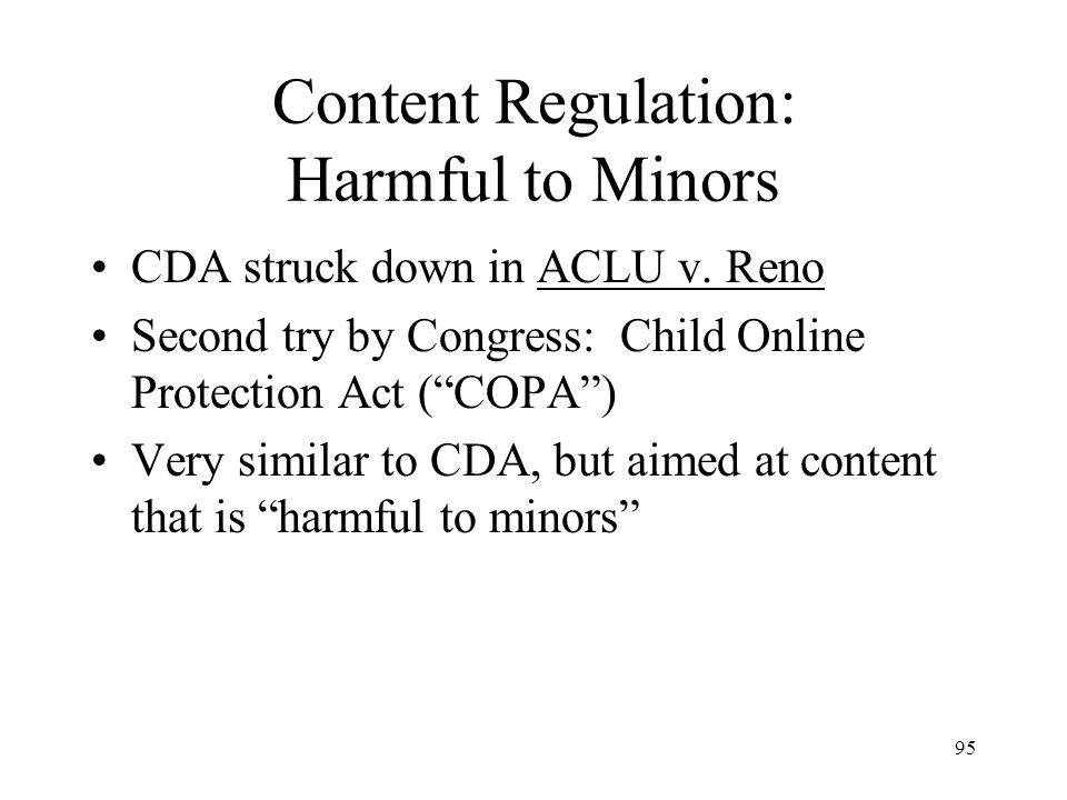Content Regulation: Harmful to Minors