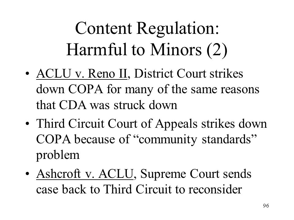 Content Regulation: Harmful to Minors (2)