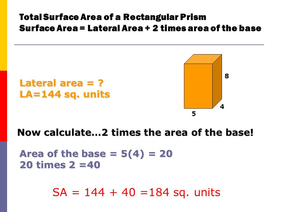 Total Surface Area of a Rectangular Prism Surface Area = Lateral Area + 2 times area of the base