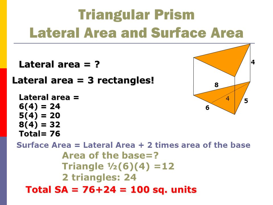 Triangular Prism Lateral Area and Surface Area
