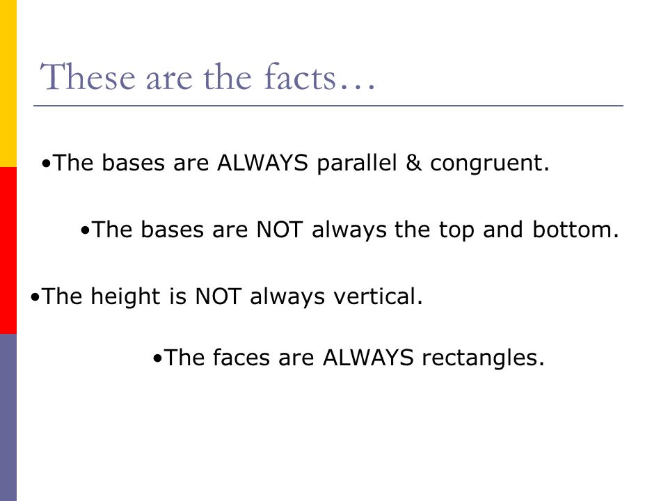 These are the facts… The bases are ALWAYS parallel & congruent.