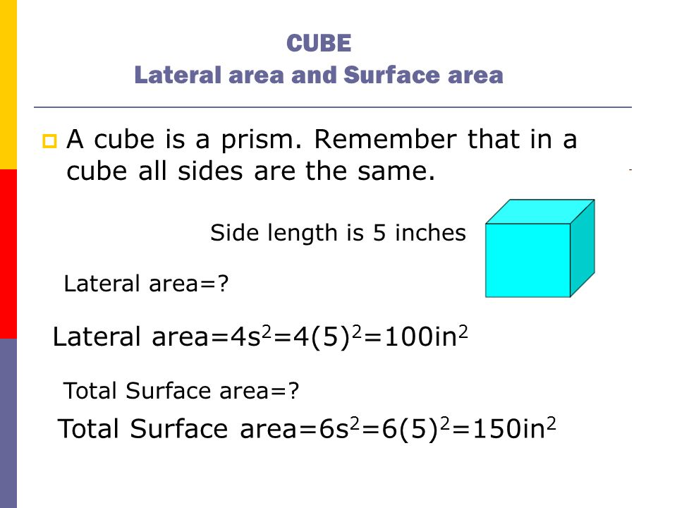 CUBE Lateral area and Surface area