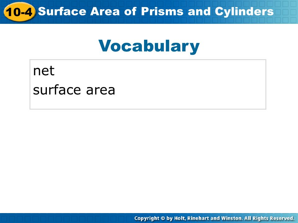Vocabulary net surface area