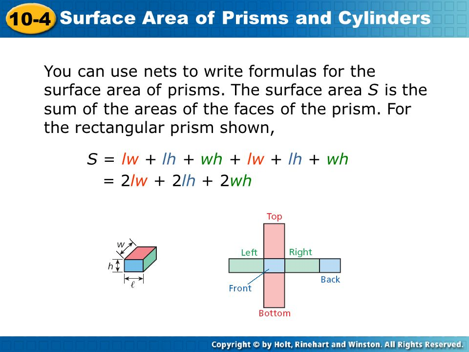 You can use nets to write formulas for the surface area of prisms