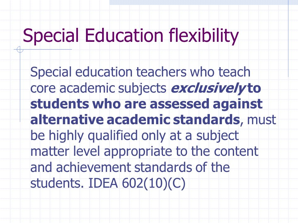 Special Education flexibility