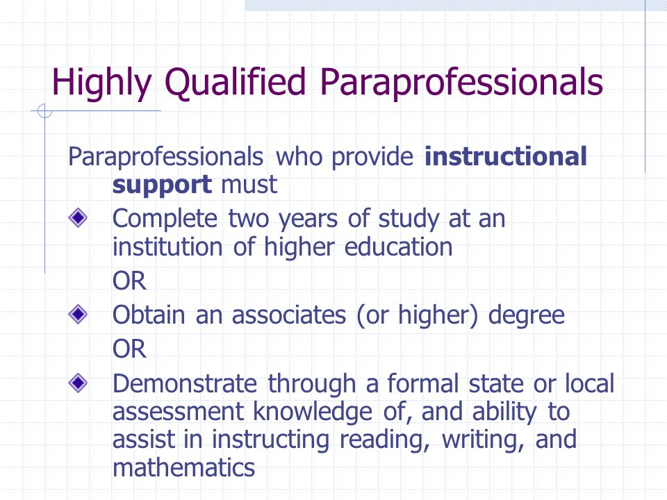 Highly Qualified Paraprofessionals